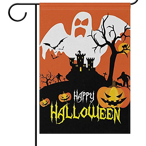 jiaxingdalin Halloween Garten Flaggen Kürbis Laterne Jack Castle Lustige beängstigende Willkommen Herbst Herbst Winter Urlaub Outdoor Yard Flags Banner für Party
