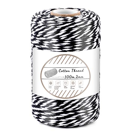 Black and White Cotton String, 100M/328 Feet Cotton Bakers Twine String, Cotton Cord, Gift Wrapping Twine for Baking, DIY Crafts, Home Decoration (2MM)
