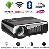 Gzunelic 6500 lumens Android WiFi 1080p Video Projector LCD LED Full HD...