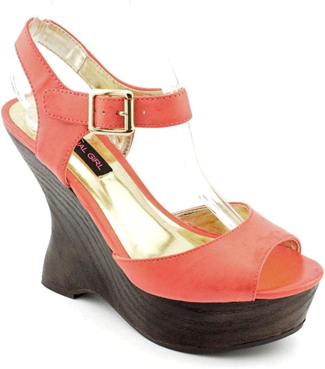 Material Girl Sasha Platform Wedge Sandal Coral Women's 9.5 M US - orange