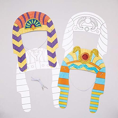 Baker Ross Pharaonen-Kopfschmuck zum Ausmalen (8 Stück) – für Kinder zum Verzieren und Verkleiden