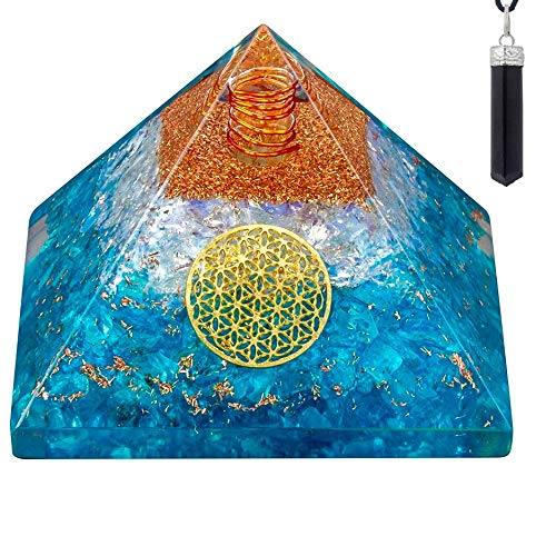 Bliss Creation Orgone Pyramid Healing Stone Energy Generator EMF Protection | Made for Ultimate Orgone Energy with Raw Black Tourmaline Crystal Healing Pendant Necklace (Apetite & Opalite)