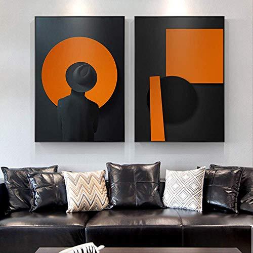 XCSMWJA Abstrakte Clip Art Mann Mit Schwarzem Hut Leinwand Gemälde Poster Drucken Schwarz Orange Wand Kunst Bilder Für Wohnzimmer Schlafzimmer 70x100cm