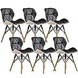 ZYXF Sillas Comedor Cuero PU, Patas Madera Cómodo Acolchado Mariposa atrás Asiento Diseño por Oficina en casa Juego Sala Comedor 6 (Color : A)