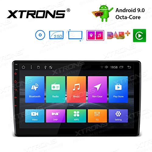 XTRONS Android 9.0 Pie Car Stereo Radio DVD Player Octa Core 10.1 Inch Rotatable Face Panel 2.5D Curved Screen GPS Supports 4K Video WiFi OBD2 Screen Mirroring DVR 2 DIN