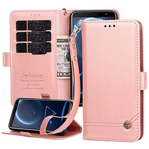 Nokia 6.1 Plus 2018 Lederhülle, Nokia X6 Wallet Hülle, Magnetverschluss, Flip Folio Hülle Cover mit Kartenfächern & Ständer für Nokia X6/Nokia 6.1 Plus 2018 – Roségold