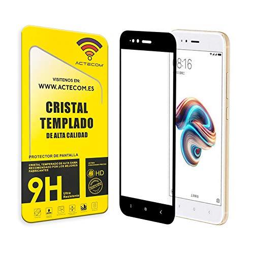 actecom® Protector Pantalla 3D 5D Negro Cristal Templado para XIAOMI MI A1 Completo con Marco 2.5D MIA1