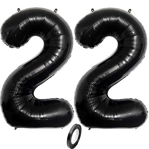 Jurxy - Globos grandes de aluminio de Mylar (40 pulgadas, números negros, globos gigantes, para decoración de fiestas de cumpleaños, color negro 22