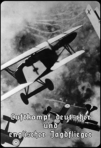 Duits - Engelse luchtgevecht vliegtuig metalen bord bordje gewelfd metaal tin sign 20 x 30 cm