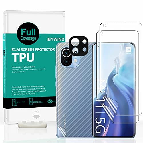 Ibywind Schutzfolie für Xiaomi Mi 11 5G / Mi 11 Pro 5G [ 2 Stück ],[Kamera Schutzfolie Metall Material][Carbon Fiber Folie für die Rückseite][Fingerabdruck kompatibel][Blasenfrei]