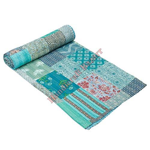 Handicraft Bazarr - Manta con estampado de hippie, estilo vintage, funda de cama Gudrrie, colcha de seda Patola cama servidor piso sofá cama (150 x 220 cm aprox.)