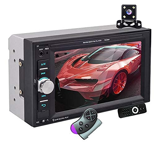 Autoradio 2 DIN - Bluetooth Auto Radio Lettori Video Integrati nel Cruscotto, 6.2 Pollici Touch Screen Car Radio con Telecamera Posteriore, Mirror Link, USB, AUX, TF Card,Controllo del Volante