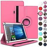 Nauci Tablet Hülle für Xido Z120 Z110 X111 X110 Tasche Schutzhülle Hülle Cover aus Kunstleder Standfunktion 360° Drehbar, Farben:Pink