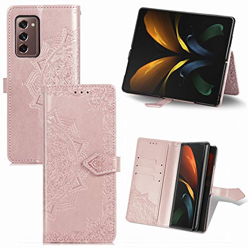 TingYR Hülle für Samsung Galaxy Z Fold 2 5G Schutzhülle, Handyhüllen Flip Hülle Wallet Stylish mit Standfunktion & Magnetisch PU Tasche Schutzhülle.(RoséGold)