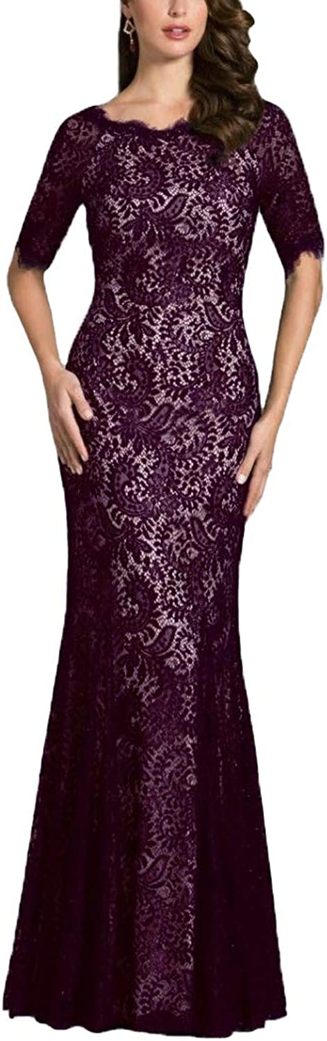 CLOTHSURE Half Sleeve Lace Mother of The Bride Dresses Mermaid Maxi Wedding Party Dresses Evening Formal Gowns