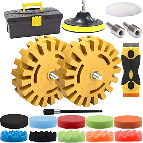 Decal Adhesive Remover, GOH DODD 4 Inch Eraser Rubber Wheel Car Trunk Sticker Remover with Polishing Pad Wool Buffing Pad and Plastic Razor Blades, 18 Pieces