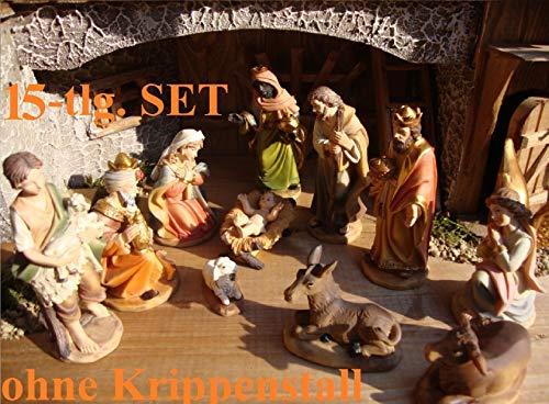 BTV Premium Krippenfiguren 11-12 cm KFG-MDS mit Deko, 15-TLG. Set, Figuren bis 12 cm groß