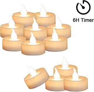 Cozeyat 12pcs Tea Lights Led Flickering with Timer (6 Hours on 18 Hours Off) Mini Flameless Candles TeaLights Battery Operated Warm White for Wedding Reception Christmas Party Halloween Decorations