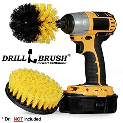 Drillbrush 2 Piece Drill Brush Cleaning Tool Attachment Kit for Scrubbing/Cleaning Tile, Grout, Shower, Bathtub, and all other General Purpose Scrubbing by