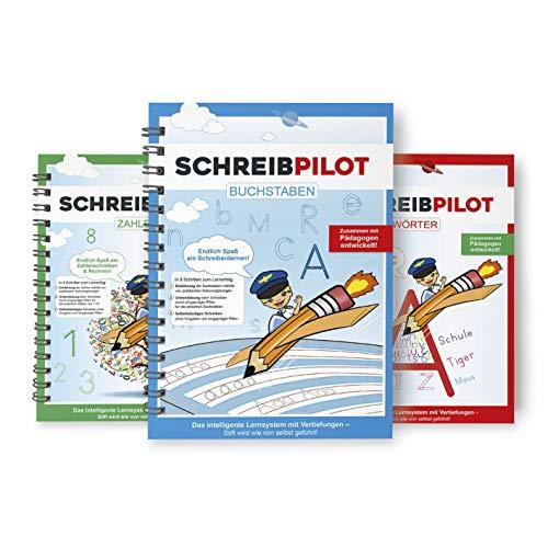 Schreibathlet: 3er Set Schreiblernhefte für ABC-Schützen mit vorgeprägten Buchstaben, Zahlen und Wörtern | Inkl. Bleistifte und Radiergummi [deutsch]