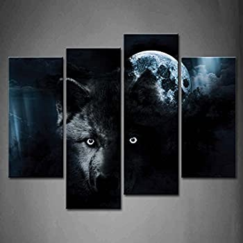 4 Panel Wall Art Black Wolf and Full Moon Painting The Picture Print On Canvas Animal Pictures for Home Decor Decoration Gift Piece  Stretched by Wooden Frame,Ready to Hang