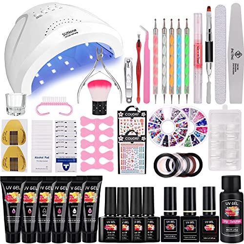 36W Lámpara Kit Uñas de Gel Completo, MYSWEETY Kit de Inicio de Manicura con 6...