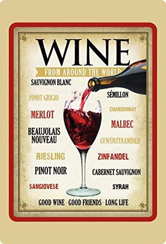 Generisch blikken bord 20x30cm wijnen van de wereld overzicht reusling Merlot Pinot Retro bord