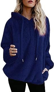 TOTOD Women Hoodie Jumpers Sweatshirt Fleece Warm Up Long Sleeve Zipper Pocket Hooded Loose Oversized