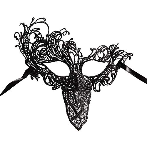 Halloween lace Masquerade mask - Sexy Masquerade mask for Adult, lace Eye mask with 4 Color for Venetian Party Ball Masquerade Fancy Dress,Costume, Couples Women Men (Phoenix Black)