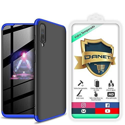 Kit Danet Capa Capinha Anti Impacto 360 Full Para Samsung Galaxy A70 e A70s Tela 6.7Polegadas - Case Acrílica Fosca Com Película De Vidro Temperado (Preta com azul)