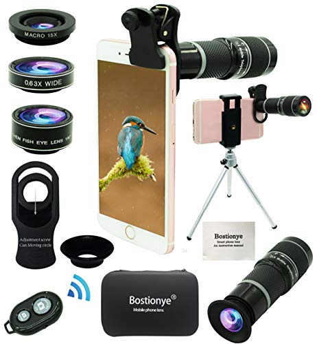 Bostiomye Cell Phone Camera Lens Kit,5 in 1 Universal 20x Zoom Telephoto,0.63x Wide Angle, Macro,Fisheye, Eye Mask, Telescope Mobile Zoom Compatible With IPhone Samsung Galaxy Smartphones