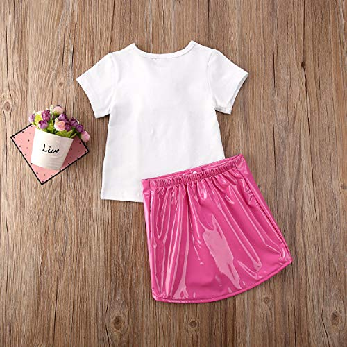 Toddler Baby Kids Girl Clothes Floral Tops Short Sleeve T-Shirt Mini Button Leather Skirt Summer Spring Outfits 2Pcs Set Pink