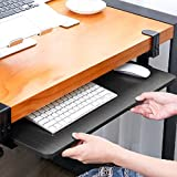 SKYZONAL Clamp-On Keyboard Tray Under Desk Ergonomic Wrist Rest Desk Extender Platform (Black)