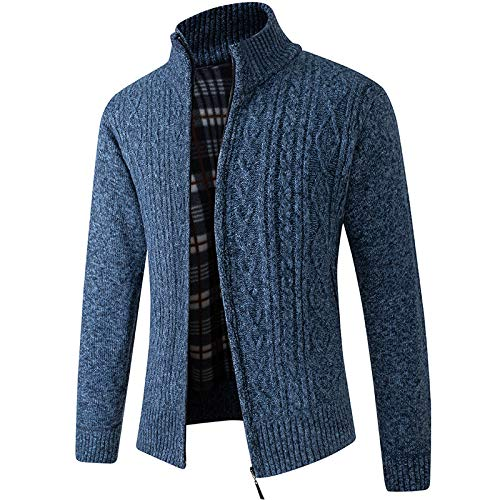 Suéter para Hombre Otoño e Invierno Cuello Alto Plus Cárdigan de Punto Grueso de Terciopelo Cremallera clásica Chaqueta cálida de Ocio al Aire Libre 3XL