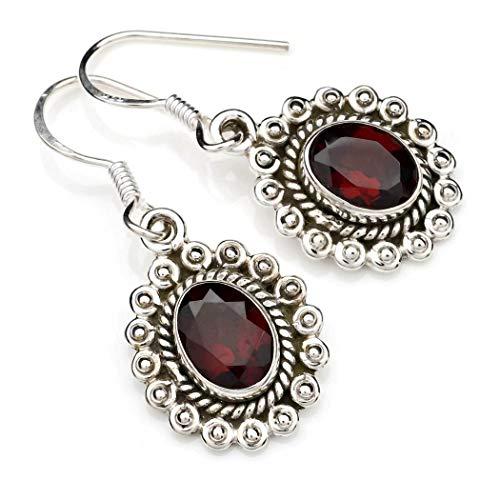 Ohrringe Ohrhänger Silber 925 Sterlingsilber Granat rot Stein (Nr: MOH 116-52)