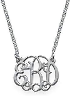 Small Monogram Necklace Custom Made with Any Initial Sterling Silver - Gift for Her