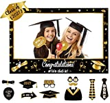 Large Size Graduation Photo Frame + 14 Congrats Photo Booth Props Party Supplies - Grad Class of 2021 Decorations Favors (Assembly Needed)