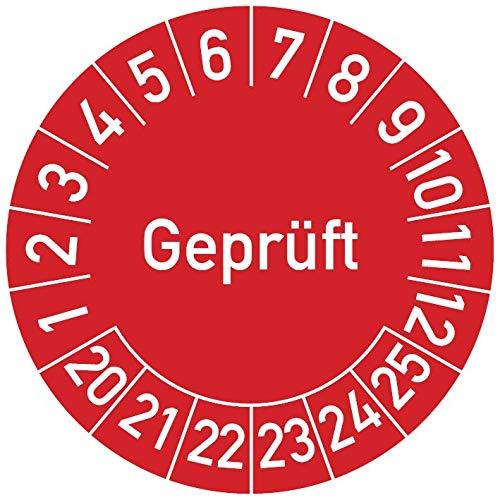 Geprüft Prüfplakette, 100 Stück, in verschiedenen Farben und Größen, Prüfetikett Prüfsiegel Plakette (20 mm Ø, Rot)