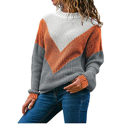 N\P Suéter de otoño e invierno para mujer, suelto, manga larga, contraste acanalado, suéter