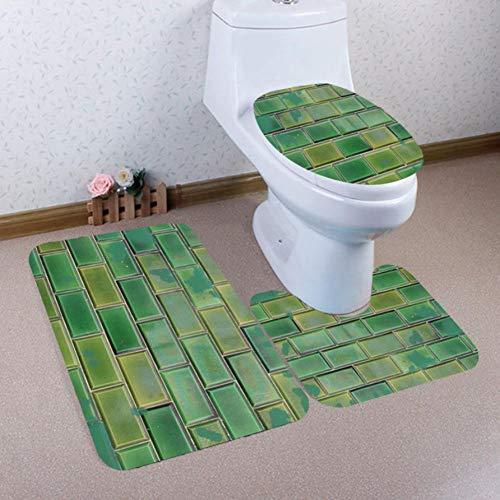 ZNBMTD 3Pcs Stampa Bagno Tappeto Antiscivolo Piedistallo + Coperchio WC Coperchio + Tappetino da Bagno Set Tappeto Piedistallo + Coperchio Copri WC + Set Tappetino da Bagno