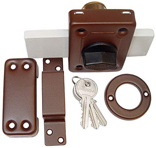 KeyMet GmbH Aufschraubschloss Kastenschloss Türzusatzschloss Zusatzschloss GAMA 140 Braun