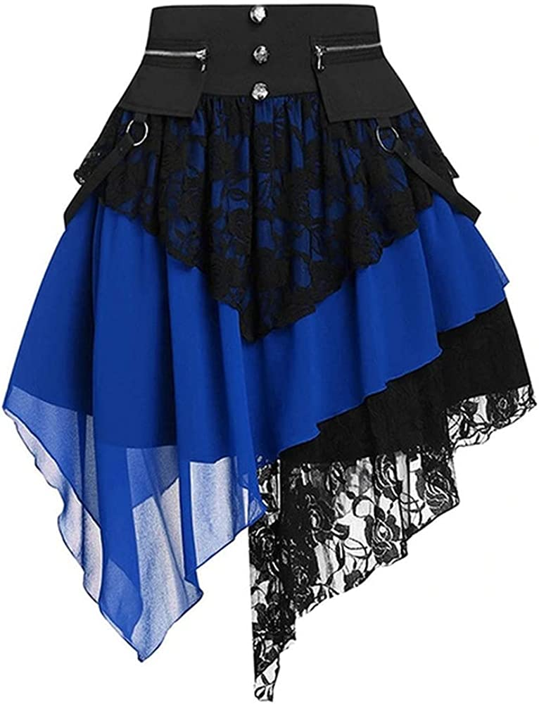 Skirts Women Retro Skirt Renaissance Lace Stitching Blue