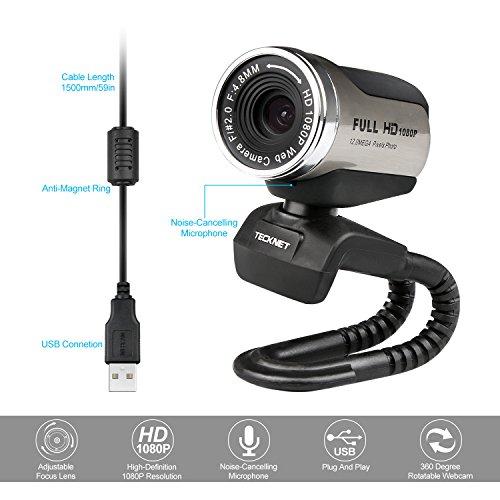 TECKNET Webcam 1080P HD Compatible con Youtube, Skype,Facebook ...