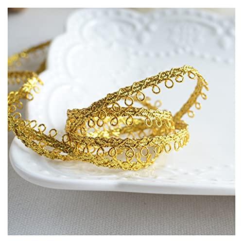 JOMOSIN SD819 3 Metros de Ancho 0.6 cm de Oro Plata Tela de Encaje Cinta Aplique Tren Trenzado cordón Guipure Coser for Ropa de Vestir Accesorios Cinta de Encaje (Color : Gold)