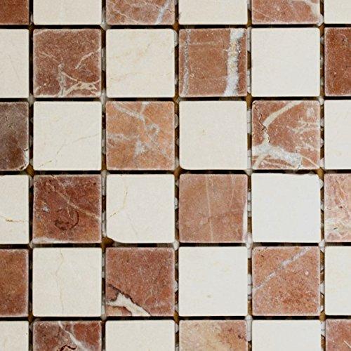 tessere di mosaico Schachbrett Rosso Verona/BOTTICINO anticato pietra naturale mosaico in Marmo