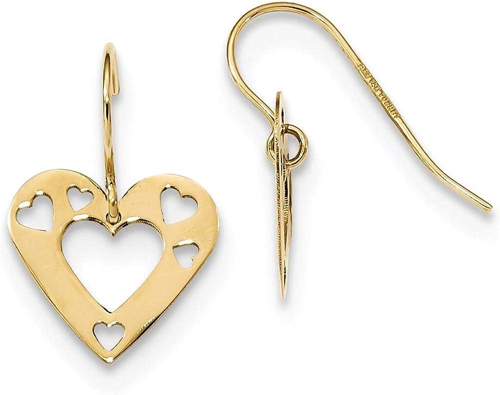 14k Yellow Gold Cut Out Heart Drop Dangle Chandelier Earrings Love Fine Jewelry For Women Gifts For Her