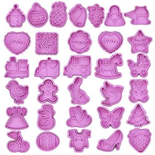 NACTECH 32 Formine Biscotti Effetto 3D Tagliabiscotti in Silicone per Bambini a 4 Tema Stampini per Biscotti Tagliapasta Stampa a Pressione per Biscotti Fondente Animali Frutti