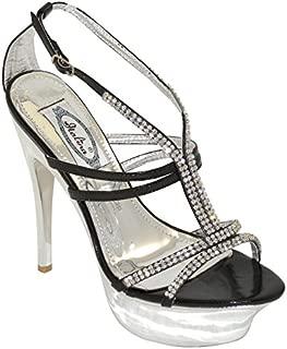 New Brieten Women's Rhinestone Strappy Platform High Heel Black Party Sandals