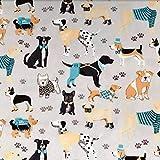 Zzxx 160 cm x 50 cm tela de algodón textil gris azul dibujos animados mascota perro huella de tela ropa de cama infantil hecha a mano decoración del hogar