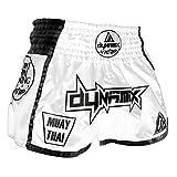 Dynamix Athletics Pantalones cortos de Muay Thai Warpath para hombre, color blanco/negro, con tejido Air-Tech., Hombre, DYN-MTS-WP-WB, blanco / negro, large